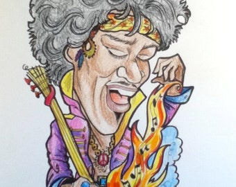 Hendrix Color Rock Portrait Rock and Roll Caricature Music Art by Leslie Mehl