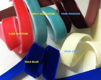 5/8 Velvet Ribbons- 5 yards. U Choose in 22 colors
