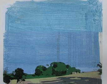 Stand Alone, Original paysage d'été Collage peinture sur papier, Stooshinoff