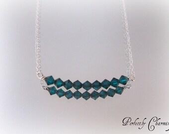 Swing Necklace SPARKLING EMERALD Swarovski Emerald Crystal Sterling Silver