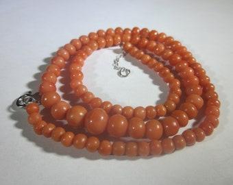Victorian Salmon Color Coral Necklace