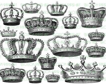 Crowns Collage Sheet - Vintage Images - Graphics - Illustrations - Digital Download - Printable - Scrapbooking - 1533