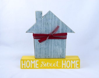 Home Sweet Home Wood Decor, Home Shelf Sitter, Housewarming Gift, Family Room Decor