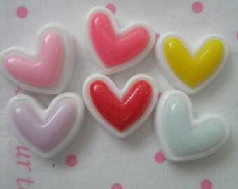SALE Double Heart cabochons 6pcs