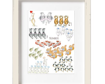 Counting poster, Numbers 1 to 10, 123 poster, Classroom posters, Woodland numbers, Learn numbers, Numbers poster, Numbers nursery art