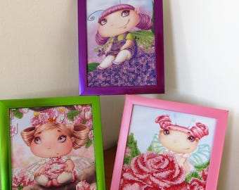 Set of Three Cute Fairies Embroidered with Beads