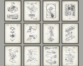 Computer Patent Print Set of 12 - Computer Design - Computer Schematic - Information Technology - IT Student Gift - Computer Geek Office Art