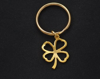 four leaf clover keychain, gold filled, gold shamrock charm keyring, good luck charm, gifts for her, bridesmaid keychain, bridal jewelry
