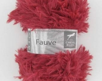 FAWN color fur yarn Strawberry No. 087 white horse