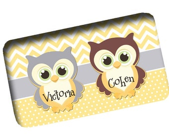 Custom Personalized Memory Foam Bath Mats  Chevron U0026 Mini Dots With Owls  Shown   Any