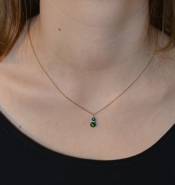 Green Blue Opal Necklace Gold, Opal Drop Necklace, Opal Jewelry, Gemstone Necklace, Stone Necklace, Simple Necklace, Opal Pendant by Etsy