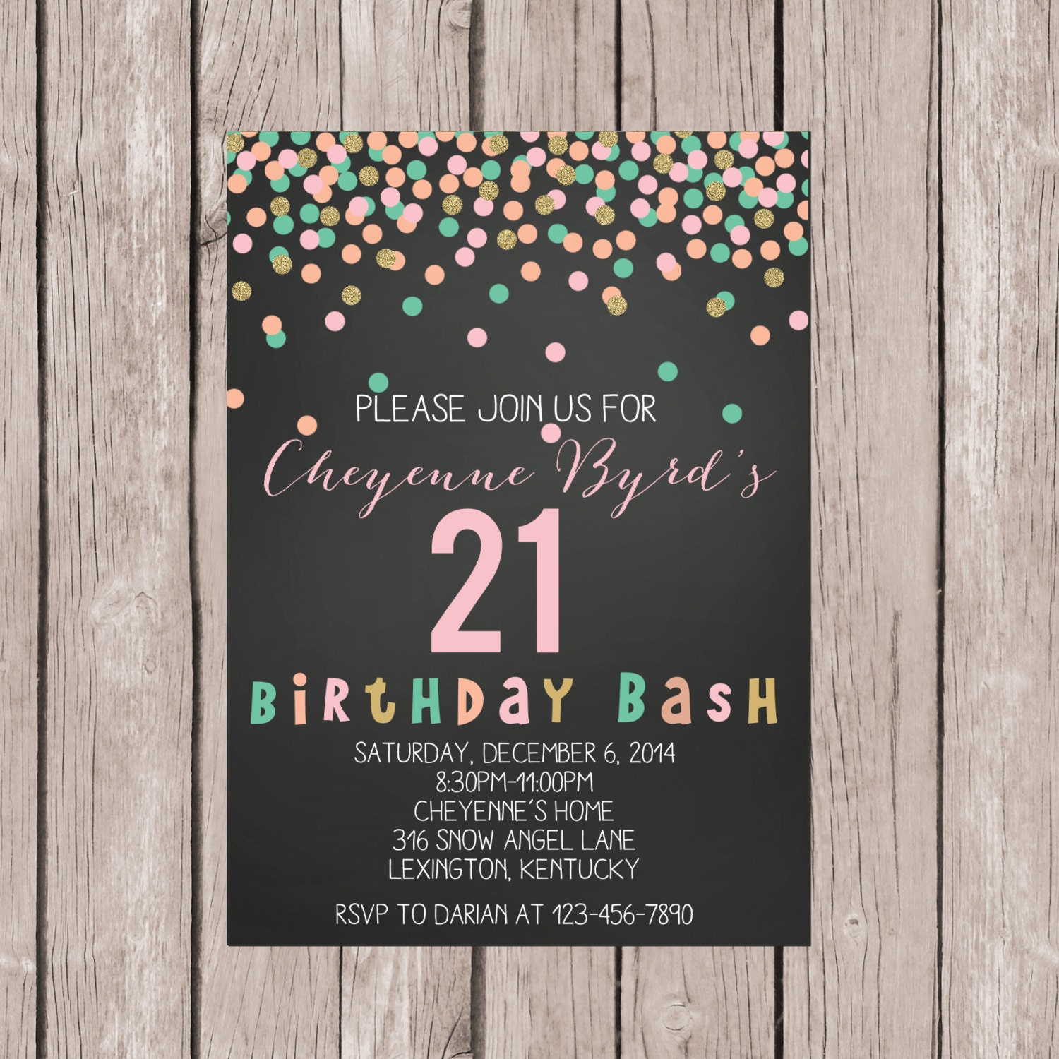 PRINTABLE 21st Birthday Invite 21st Birthday Invitation