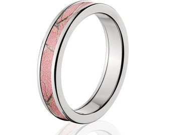 Camouflage Wedding Band Custom Camo Wedding Ring Realtree Pink Camo Pattern Camo Jewelry RealTree Pink Camo Ring 4HR_RTPINK