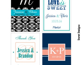 126 - 2x2.67 inch Custom Wedding Rectangle or Mini Wine Bottle Labels - hundreds of designs - change designs to any color, wording etc