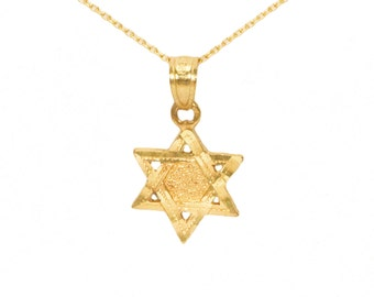 10k Yellow Gold Star of David Necklace