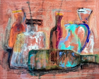 "Abstract bottles original mixed media painting home office decor 19.5 "" x 25.5 """