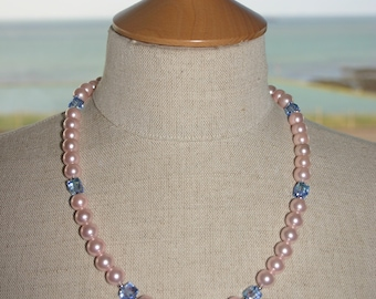 PINK PEARL NECKLACE ...With Swarovski Crystals