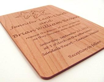 Destination Wedding Invitation - Engraved Real Wood Invitation - Starfish Design