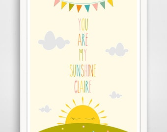 Personalized Children's Wall Art / Nursery Decor / Kids Room You Are My Sunshine... print by Finny and Zook
