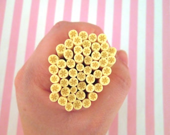 Yellow Banana Polymer Clay Canes, Fruit Clay Canes #329a