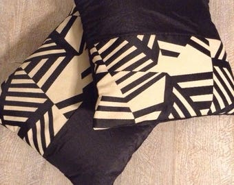 Beige black graphic pillow cover