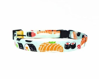 "Cat Collar Breakaway - ""Sushi"" - Safety Cat Collar - Light Blue Cat Collar - Soft Cotton Fabric Collar - Fun Cat Collar - Food/Japanese"