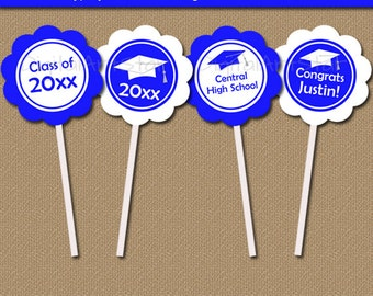 Graduation Party Decorations - Party Ideas - Printable Graduation Cupcake Toppers - Graduation Download EDITABLE Graduation Cupcake Picks G1