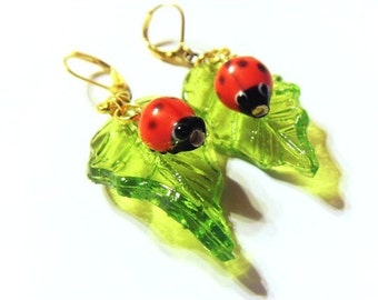 Ladybird & Glass Leaf Earrings Ladybird Jewelry Jewellery Leaf Charm Leaf Pendant