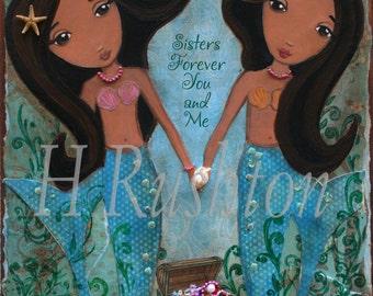 Mermaid Wall Art -8x10- Children Decor-  Mixed Media- Sisters Art Print-African American Art-Kids Mermaid Art