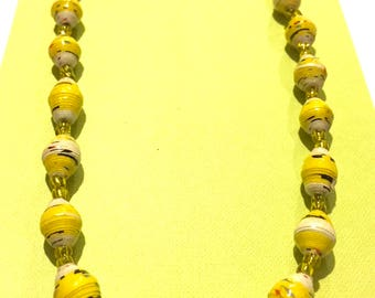 Canary Yellow Ugandan Paper Bead Necklace