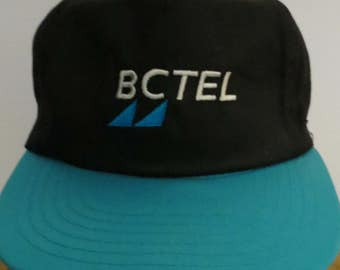 BC TEL Authentic Cap Hat Black Turquoise Embroidered Trucker Snapback