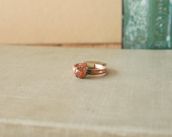 Raw Spessartine Garnet Ring Electroformed Copper Size 5.25