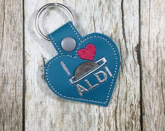 Aldi Quarter Keeper, Aldi Quarter Holder, Keychain, Friend Gift, Gift For Mom, Birthday Present, turquoise, Birthday Gift, Aldi, Aldis, Gift