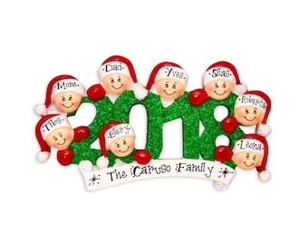 8 Family Members 2018 Ornament / Personalized Christmas Ornament / Friends Ornament / Sibs / Office / Co-Workers Hand Personalized