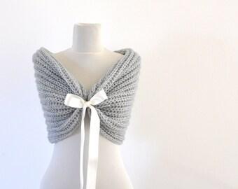 Bridal Cape Wedding Wrap Bridal Shrug with Ribbon Chic Romantic Elegant Gray Grey