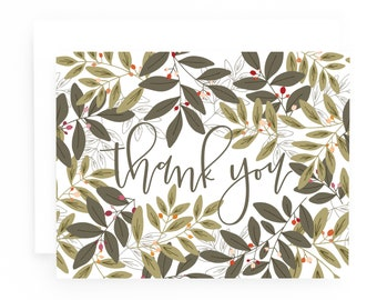 Folk Garden Thank You Card Set of 8, Illustrated Forest Thank You Cards