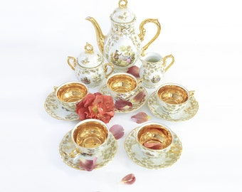 Coffee service / Pearly Bavaria Fragonard porcelain tea / 5pers