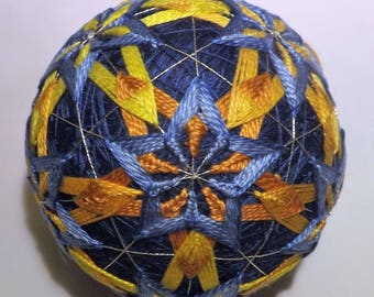 Japanese Temari ball pentigan woven star within a star in Blue and gold handmade