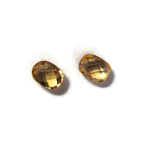 Two NON DRILLED Citrine Gemstones, Matching Bright Yellow Stones for Making Jewelry & Setting, 8x6mm Teardrop Gemstone (Luxe-Nd2e)