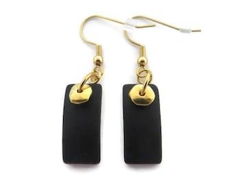 Black Sea Glass Earrings, Black Beach Glass Earrings, Black Earrings, Black and Gold Earrings, Elegant Black Dangles, Sea Glass Dangle