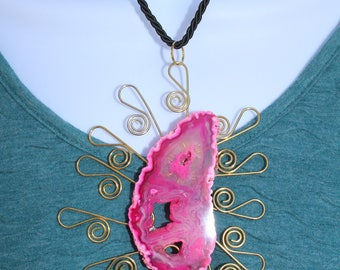 Pink Geode on Gold