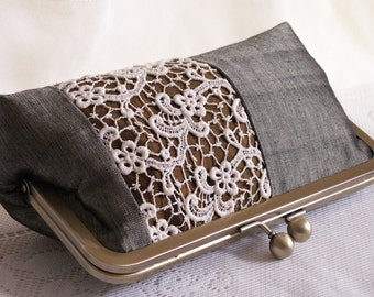 Handmade silk, lace clutch handbag. Green, sage, brown, gold, cream. OPERA by Lella Rae on Etsy