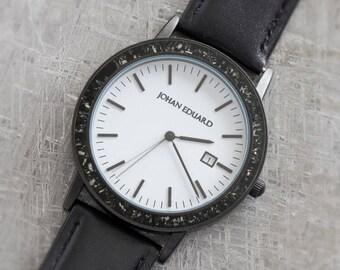 Black Stardust Wristwatch, Meteorite In Matte Black Metal Watch With Black Leather Strap, Space Jewelry, Johan Eduard Watches