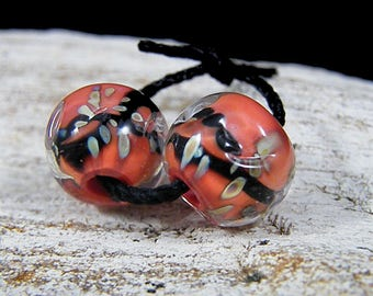 Handmade Lampwork Beads - Earring Pairs ~Crazy About Coral ~Boho-Lampies