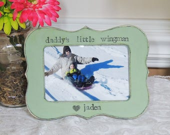 Daddy little wingman frame Fathers day gift dad papa daddy apa Personalized photo picture frame son daughter father groom wedding gift