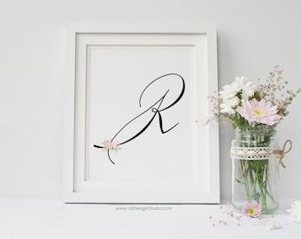 Christmas Gift, Letter R Wall Art, Nursery Print, Nursery Wall Art, Nursery Print, Monogram Printable, Initial Print, Christmas Gift, DT201