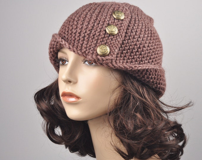 Hand knit woman hat Fold band hat in Mocha with button wool hat - ready to ship