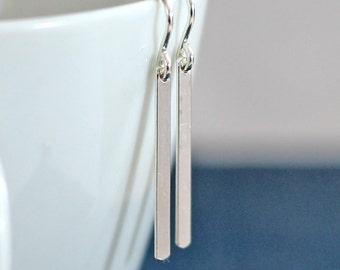 Small Silver Bar Earrings, Simple Earrings, Silver Line Drop Earrings, Tiny Stick Earrings, Minimal Earrings, Silver Earrings
