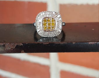 Sterling Silver Yellow & Colorless Diamond Statement Ring