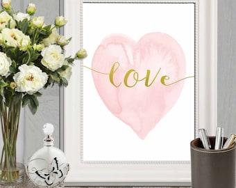 Heart print Pink Nursery heart wall art Pink gold heart art Love Watercolor heart decor Pink and gold Nursery art DOWNLOAD 11x14, 5x7, 8x10